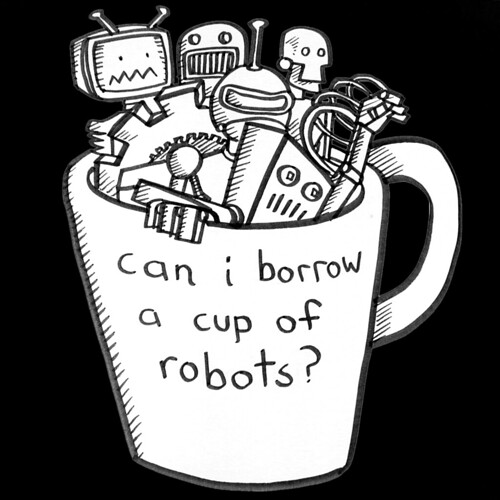 cup of robots ~ on black | by striatic