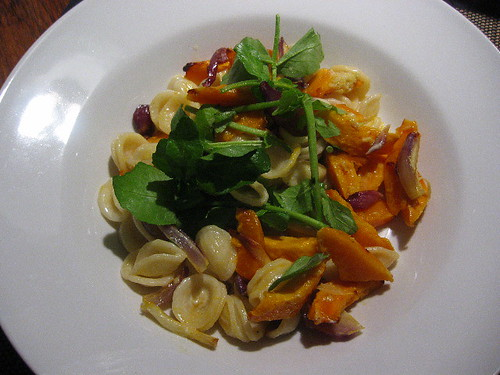 Orecchiette with roasted pumpkin and red onion