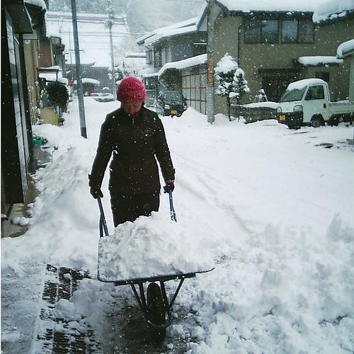hauling snow