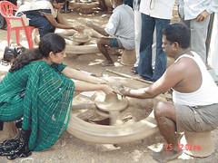 Pottery contest in progress
