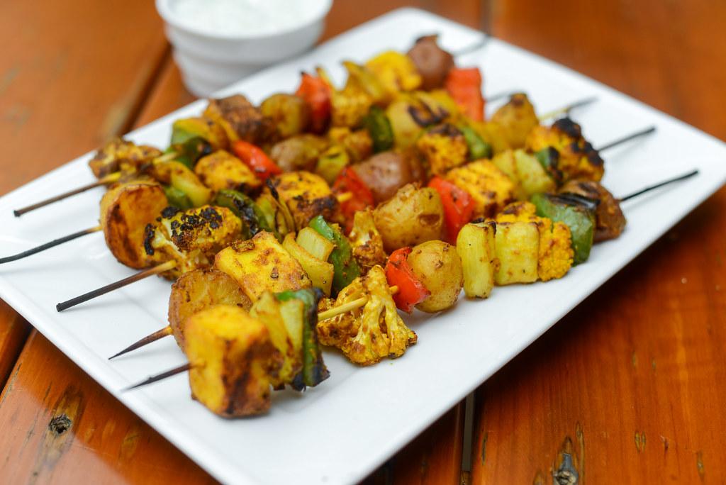 Indian-spiced Vegetable and Paneer Skewers