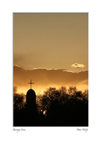 sunset newmexico church cross cerrillos
