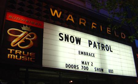 Snow Patrol at the Warfield