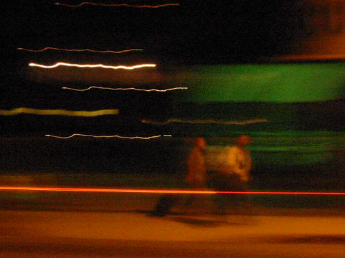 """moving targets, night, """"red stripe"""" green walking two 
