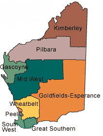 Western Australia Regions Map