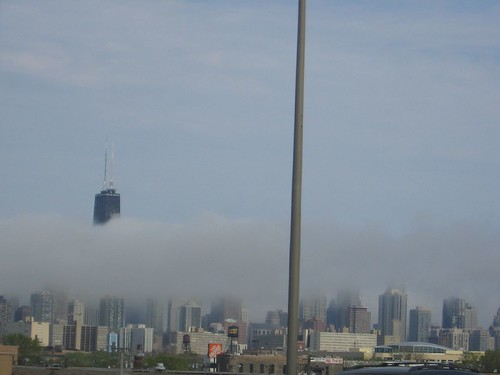 Hancock in clouds