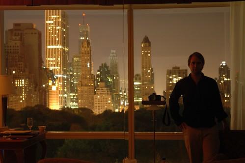 night skyline through mirror