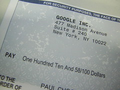 Cheque from Google Inc.