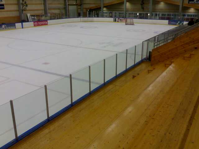 Empty Icelandic Rink With Wooden Stands