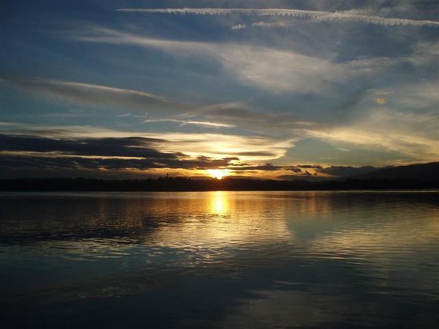 Italy, Lombardia, sunset in Oggiono; Italia, Lombardia, tramonto a Oggiono