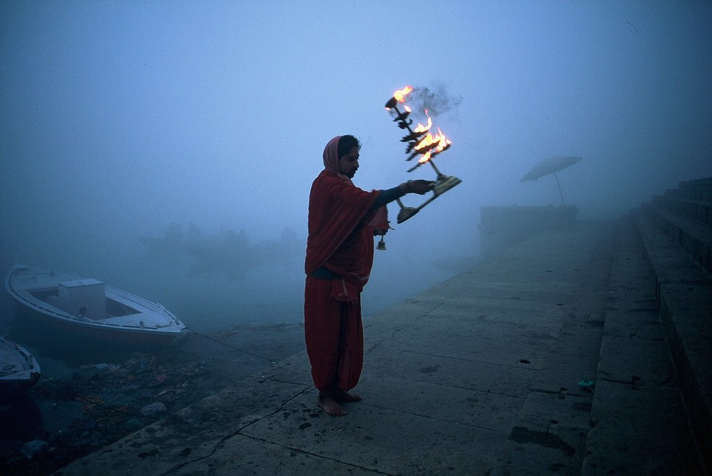 A strange foggy morning in Varanasi,India.