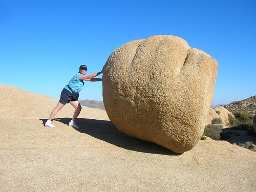 my mom pushing a boulder, joshua tree national park november 06   by ((brian))