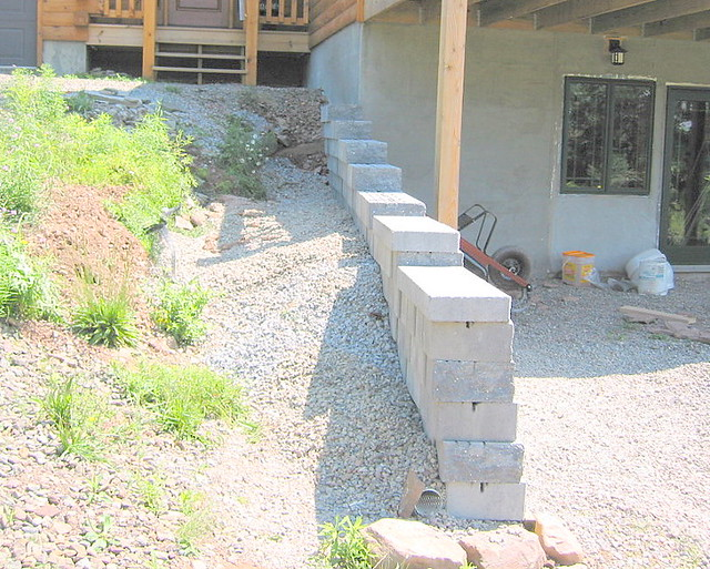 Nearly finished retaining wall | Gravel has been placed over