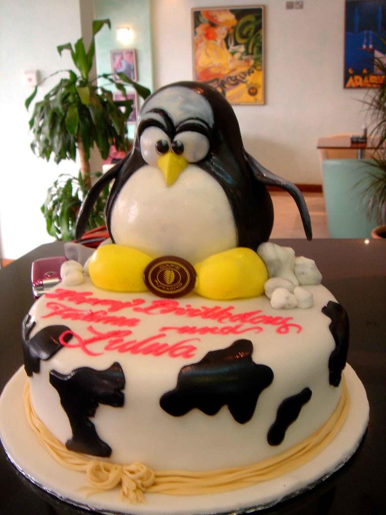 Superb Penguin Birthday Cake Cafe Pistachio Flickr Funny Birthday Cards Online Alyptdamsfinfo