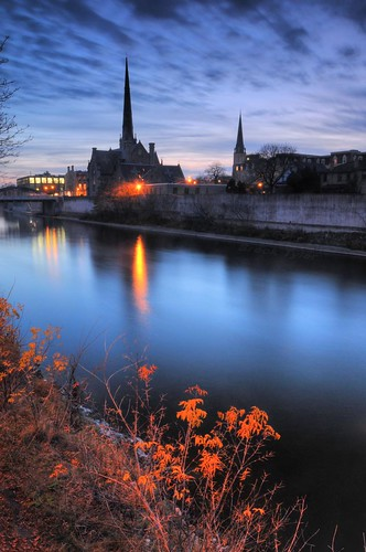 cambridge sunset reflection evening still twilight dusk peaceful grandriver hdr photomatix