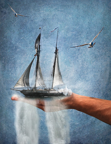 bird water clouds photoshop waterfall ship hand arm gull surreal manipulation montage sail imagine 365 schooner ourtime brendastarr mywinners mikebaird obsidiandawn artofimages altrafotografia nanceeart chiaralily