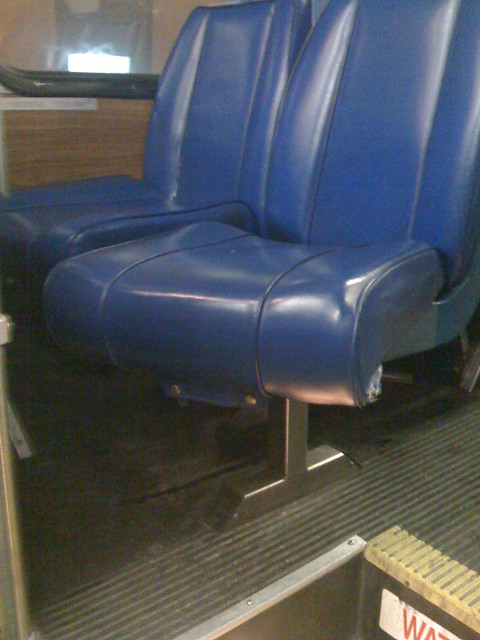 Broken bus seat cover
