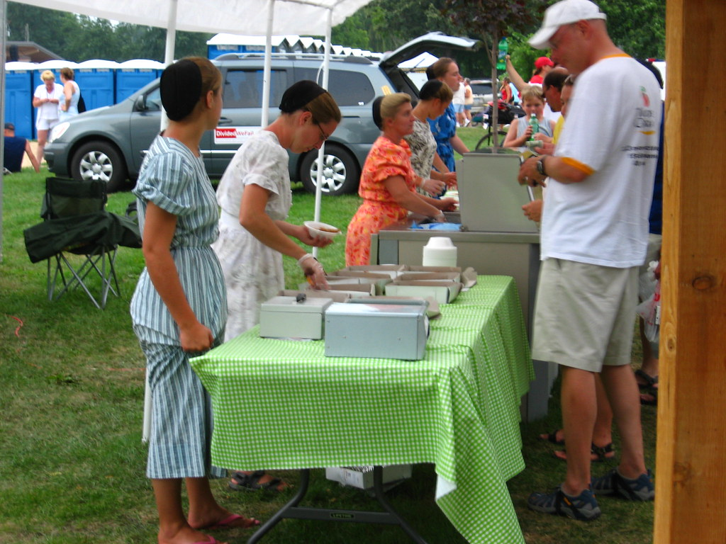 Conservative Mennonite young people selling home made ice … | Flickr