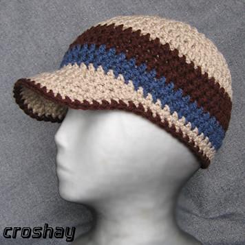 Crocheted Beanie With Bill Crochet Skull Cap Beanie Hat Wi Flickr