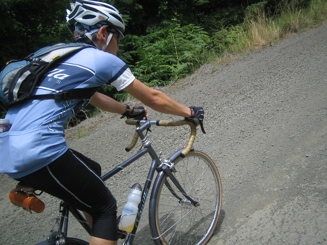 Riding the gravel on a Vanilla fixed gear