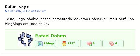 Plugin BlogBlogs User Info nos Comentários by Rafael Dohms