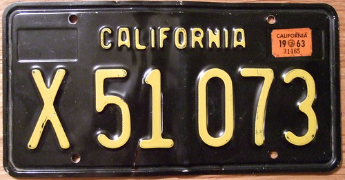 CALIFORNIA 1963, COMMERCIAL TRAILER plate with 1963 STICKER   by woody1778a