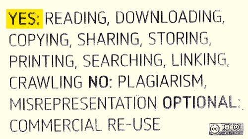 Yes: reading downloading copying sharing storing printing searching linking crawling No: plagiarism misrepresentation Optional: commercial re-use