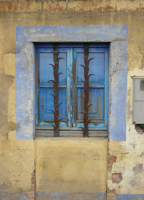 Blue Window With Decorative Security Bars Blue Window Bet