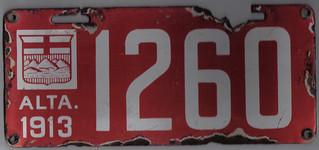 1913 ALBERTA auto license plate