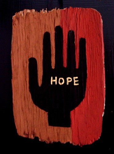 painted hand # 44 on small piece of weathered wood | by denise carbonell