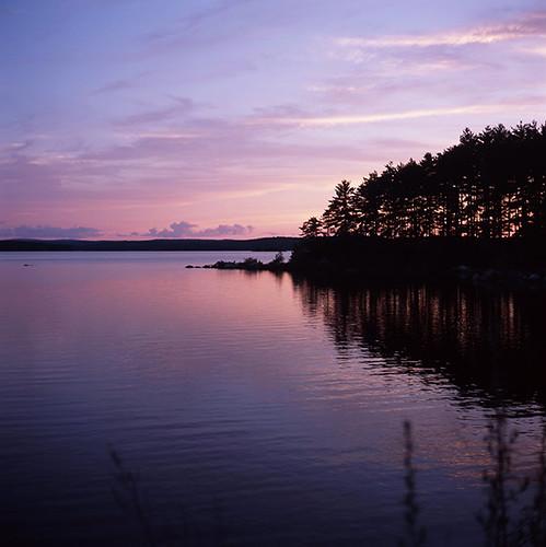 sunset water ma fuji clinton yashica provia100f mat124g wachusettreservoir rdpiii