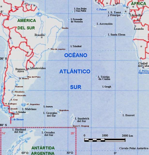 Georgia Del Sur Mapa.Mapa Con Islas Del Oceano Atlantico Mas En Malvinas La Ver