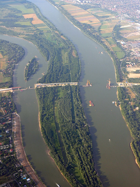 A Danube bridge under construction