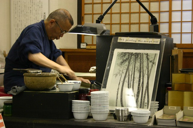 Painter - A traditional Japanese wood-block painter. Tokyo, Japan, 2007.
