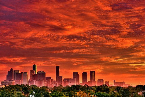 city red sky usa skyline architecture sunrise buildings downtown texas apocalypse houston hdr