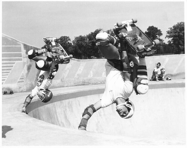 Steve Caballero and Mike Mcgill,Livingston Skate Park,Scotland 1980