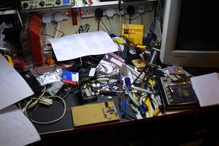 AVR microcontroller board: untidy workbench