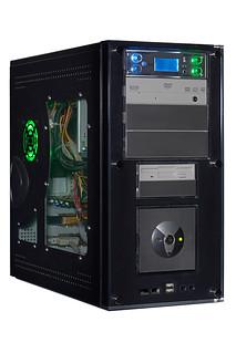 Computer PC Tower Desktop White Background DVD Burner Neon Fan Green Blue Case Custom Home Build Control Pentiu | by jules:g