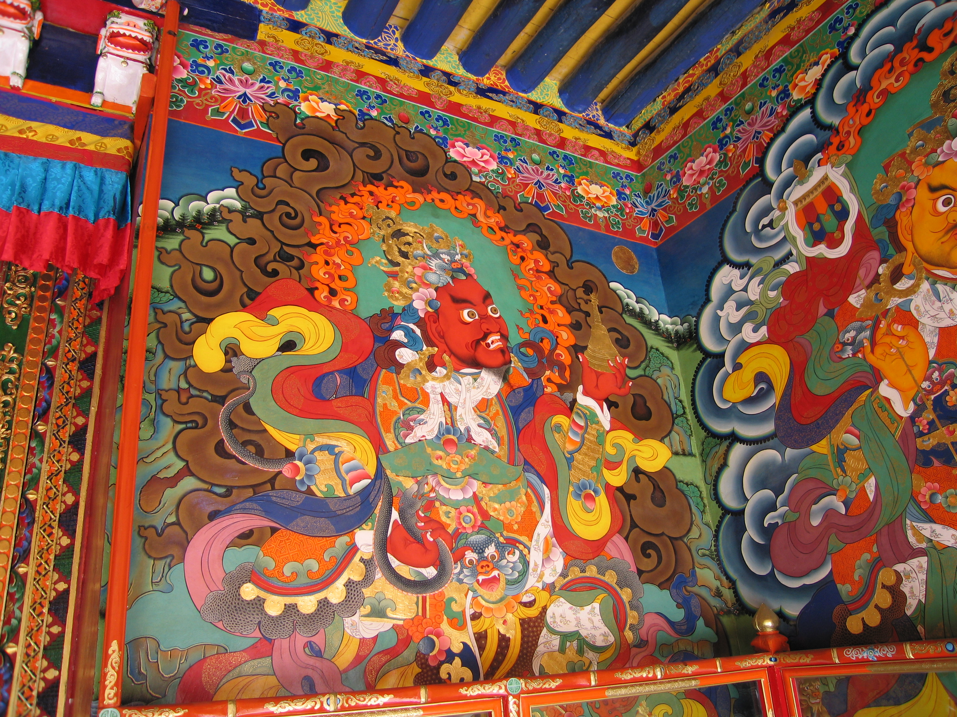 Mural of protective deities in Ganden Monastery