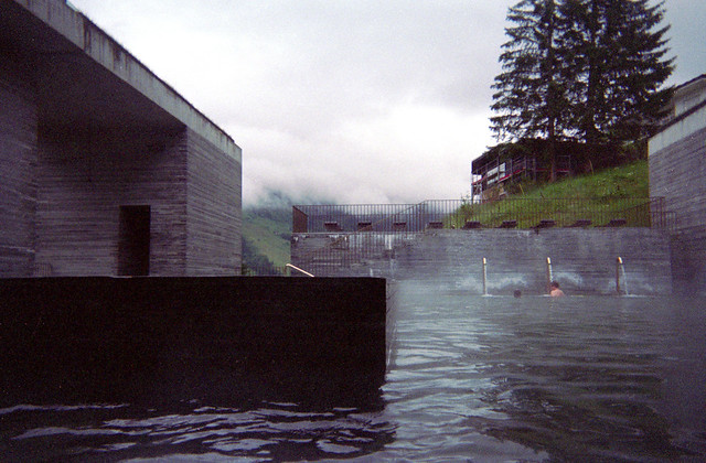 therme vals - view from pool on foggy morning