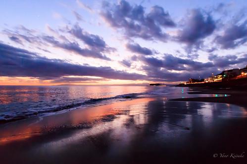 inamuragasaki 稲村ヶ崎 beach 海 twilight evening 夕景 kamakura 鎌倉 kanagawa 神奈川 japan 日本 cloud 雲 enoshima 江ノ島 sunset