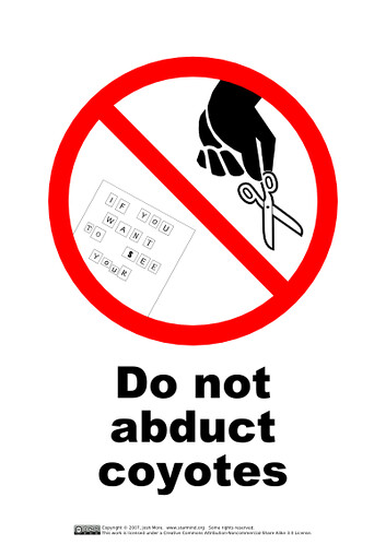 Do Not Abduct Coyotes | by guppiecat
