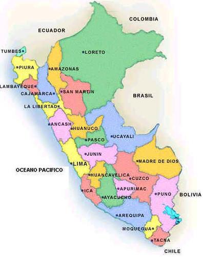 Mapa Departamentos del Perú; map of peruvian departaments ...