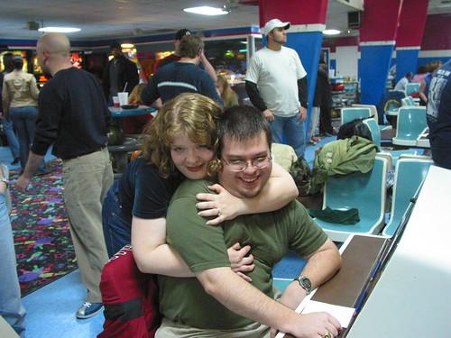 Jeff gets tacklehugged at bowling.