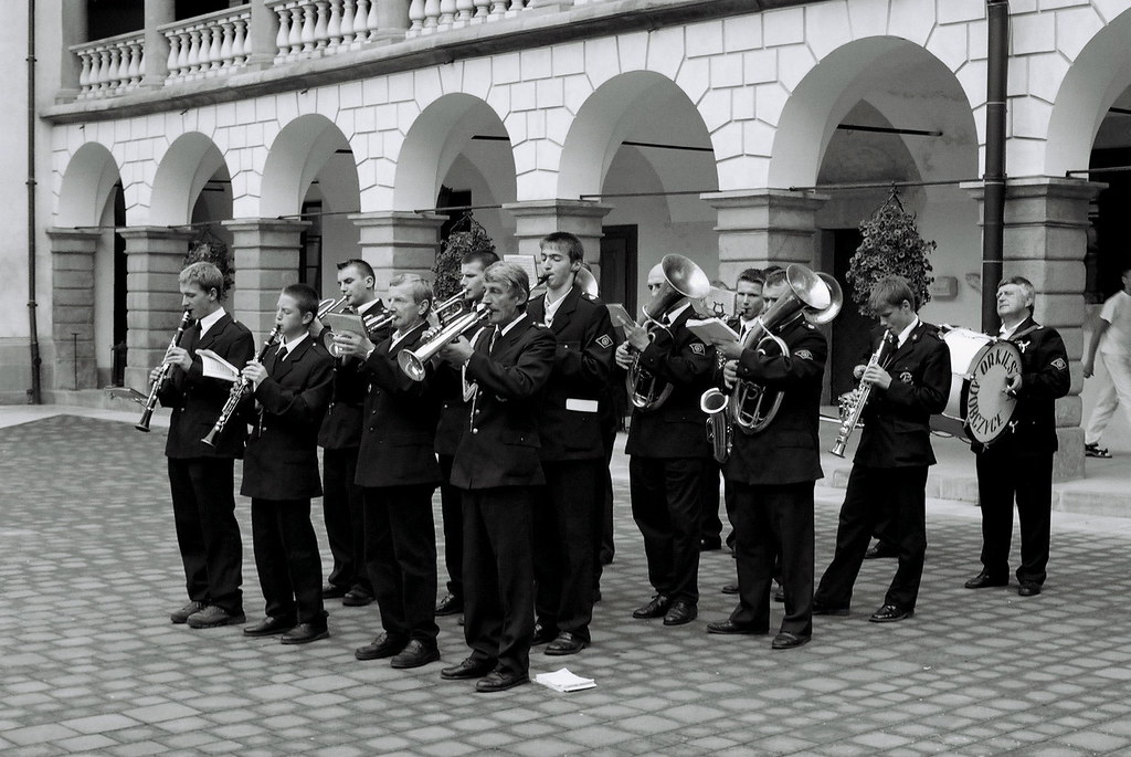 Fireman's Orchestra from Dobczyce playing in Niepołomice castle
