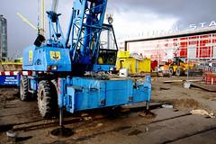 blue construction crane
