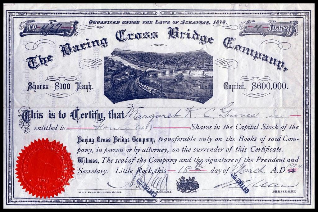 certificate baring bridge cross 1924