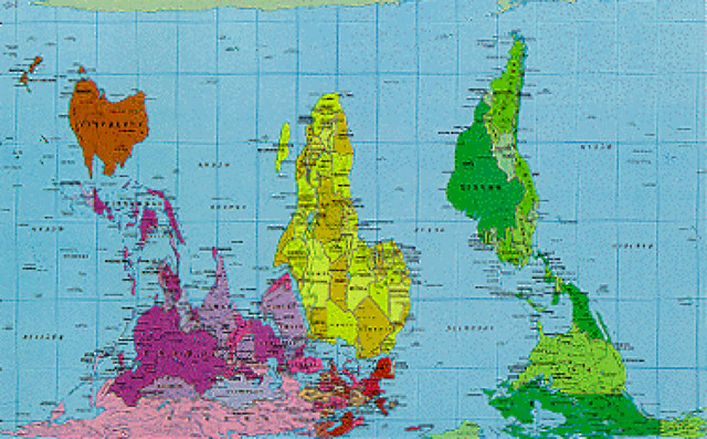 world map - peters projection - upside down | Uploaded with … | Flickr