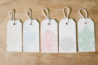 Holiday Gocco Gift tags - Scrolls - set of 5 | by Sarah Parrott