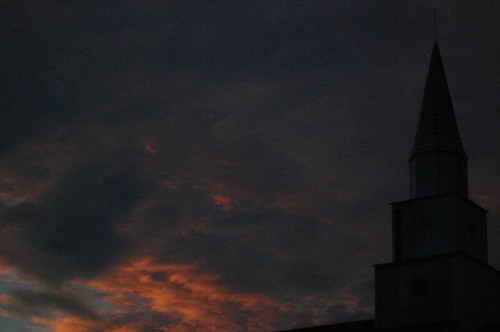 sunset sky orange cloud sun storm church clouds dark nikon steeple d40